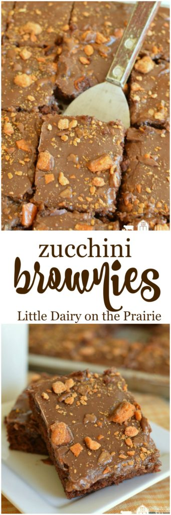 This is the best classic zucchini brownie, slathered in a creamy chocolate icing, and topped off with butterfingers! The best way to eat zucchini!