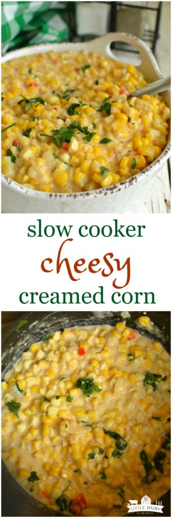 Slow Cooker Cheesy Creamed Corn is fancy enough to serve company and easy enough for weeknights! It always goes fast!