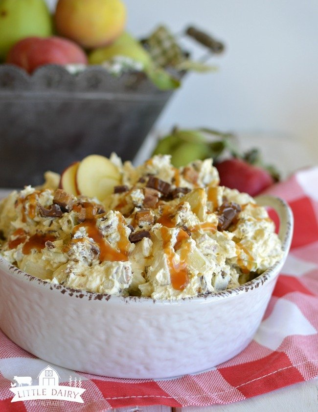 Caramel apple salad in a white serving bowl