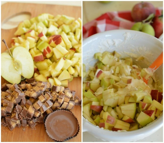 chopped apples and candy bars for making salad