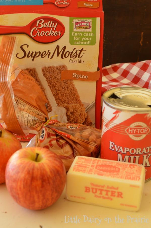 ingredients to make caramel apple blondies.