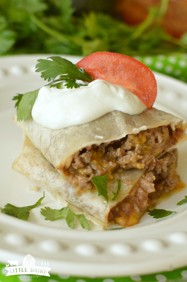 Beef and Bean Burritos - easy and quick