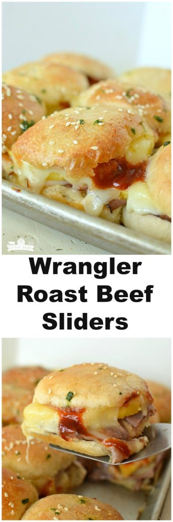 a collage with images of roast beef sliders plus a text overlay