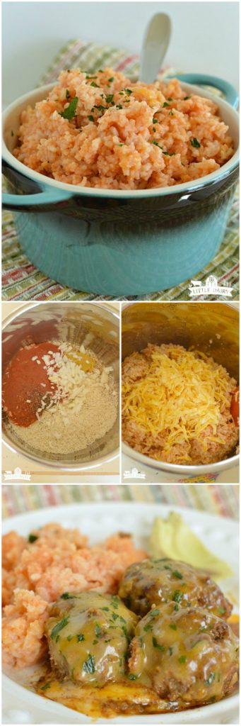 Cheesy Spanish Rice is a super quick and easy side dish recipe to serve with any Mexican food! Make it on the stove top or in the Pressure Cooker