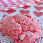 thick pink cookies sprinkled with Valentines sprinkles