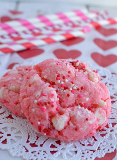 thick pink cookies sprinkled with Valentines sprinkles