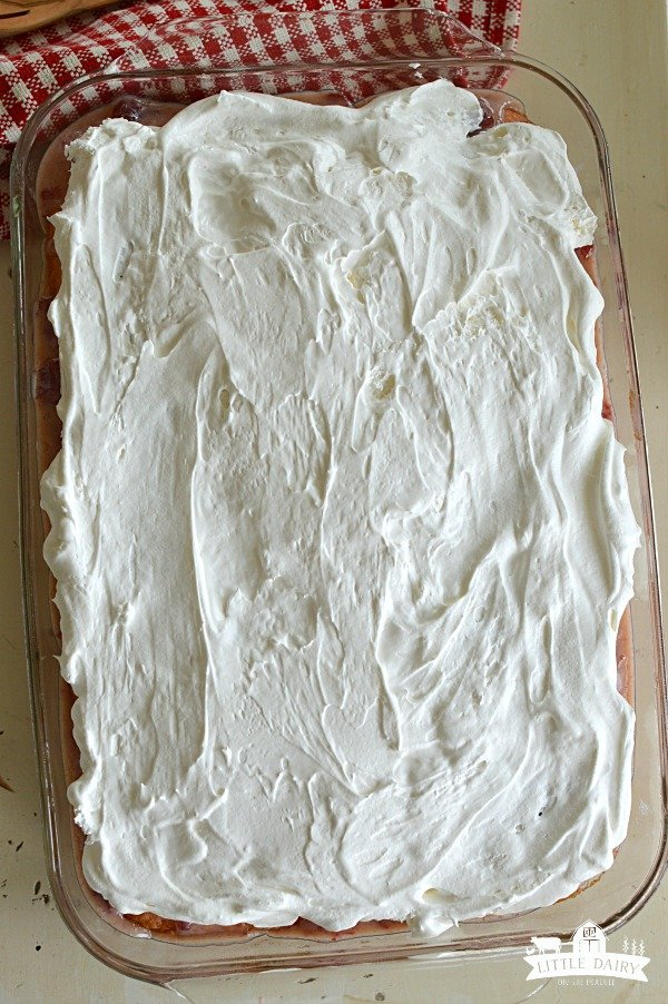 Cake frosted with fresh whipped cream.