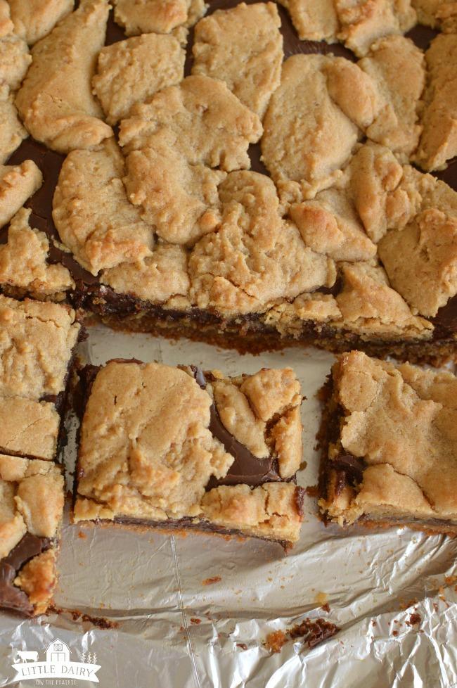 Fudge layered cookies cut into bars