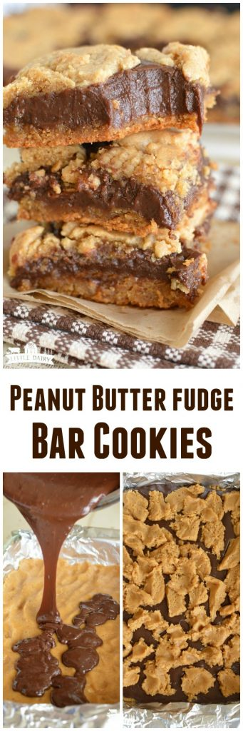 Peanut Butter Fudge Cookie Bars take about 5 minutes to make and are the most decadent dessert!