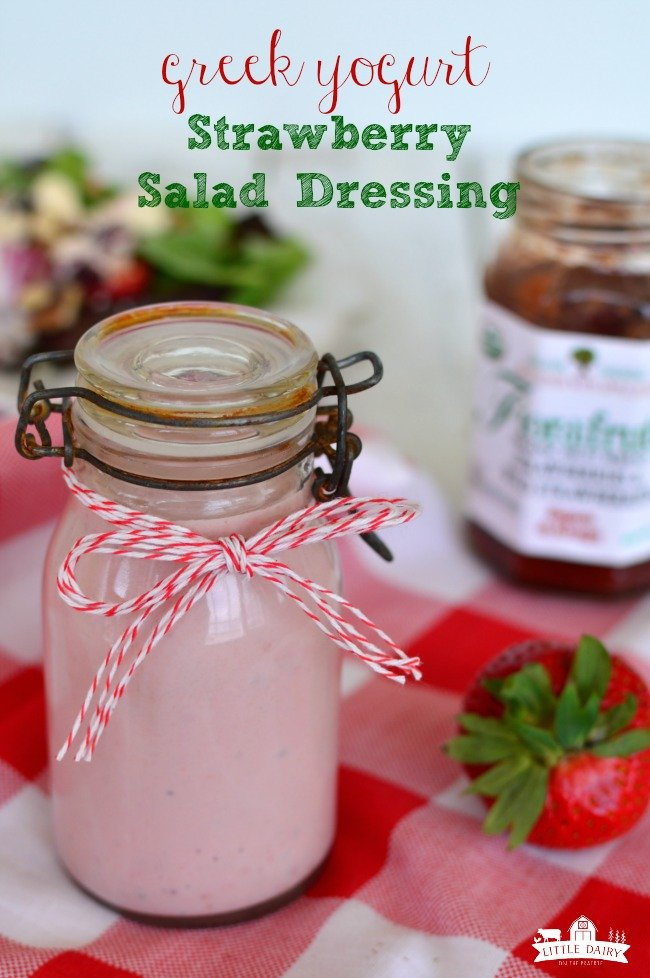 Greek Yogurt Stawberry Salad Dressing is a quick, easy, and healthy recipe. Blender salad dressing! www.littledairyonthepairie.com