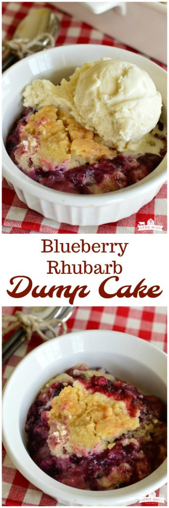 Blueberry Rhubarb Dump Cake is a quick and easy summer dessert! It only takes a few ingredients. Make sure to top it with vanilla ice cream or whipped cream! #rhubarb pitchforkfoodie.com
