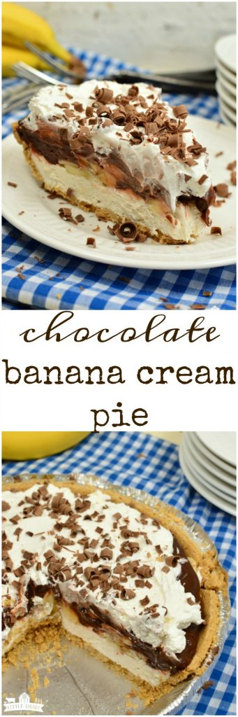 Easy Chocolate Banana Cream Pie is a super luscious no bake dessert that only takes minutes to throw together! #easyrecipe pitchforkfoodie.com
