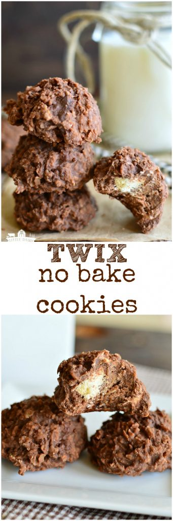 Twix No Bake Cookies! Cookies and candy in the same bite! A super easy recipe! #summer www.littledairyontheprairie.com