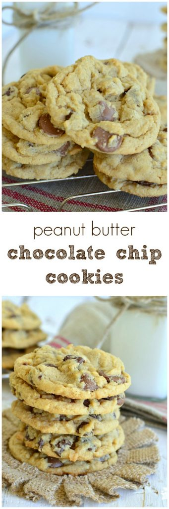 The best Peanut Butter Chocolate Chip Cookies!  A little crsipy on the edges and chewy in the center! #easyrecipe pitchforkfoodie.com