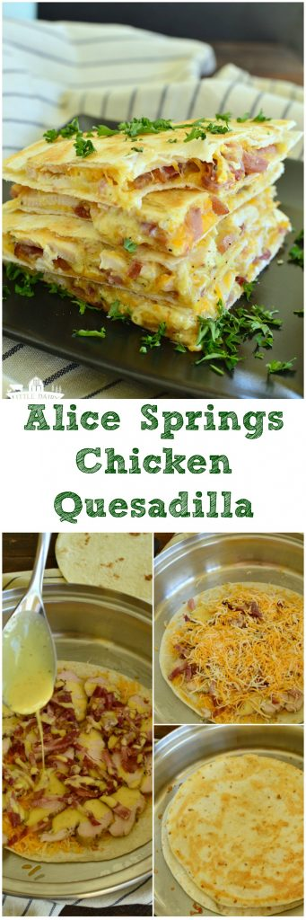 Leftover grilled chicken? Slice it up and create and Alice Springs Chicken Quesadilla out of it! Can't resist the gooey cheese or the bacon either! #easylunch pitchforkfoodie.com
