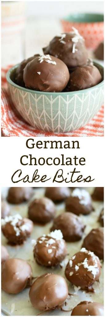 German Chocolate Cake Bites are everything you love about this dessert in a fun little bite! #cakeballs #brownies www.littledairyontheprairie.com