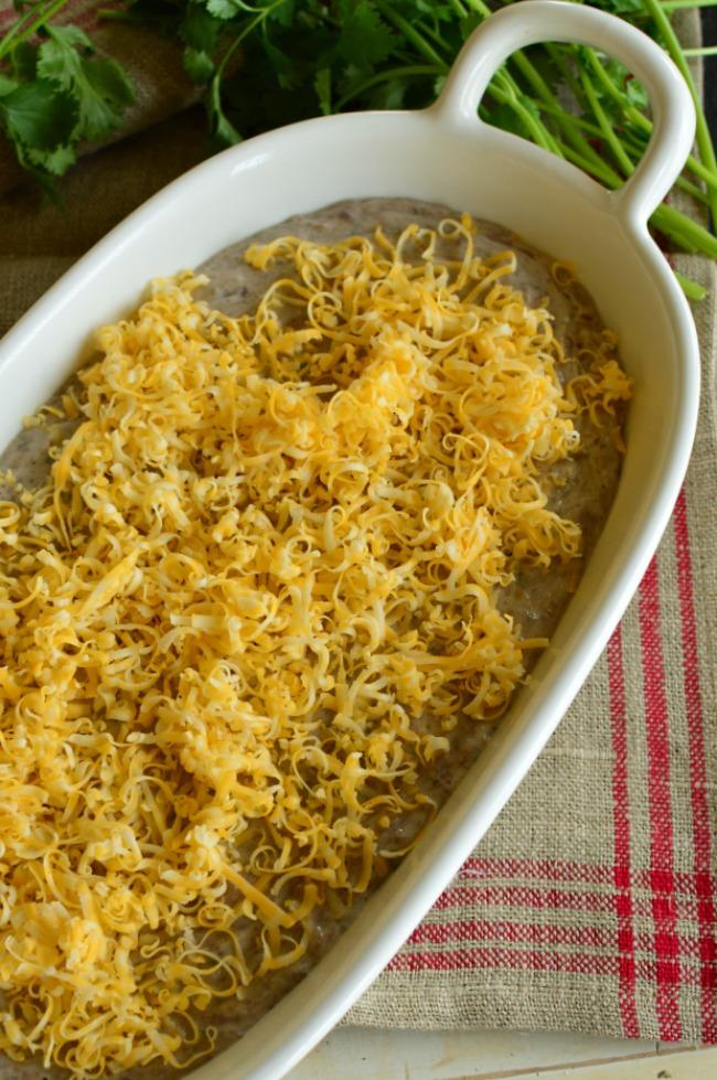 Easy Cheesy Refried Bean Dip #addicitng appetizer