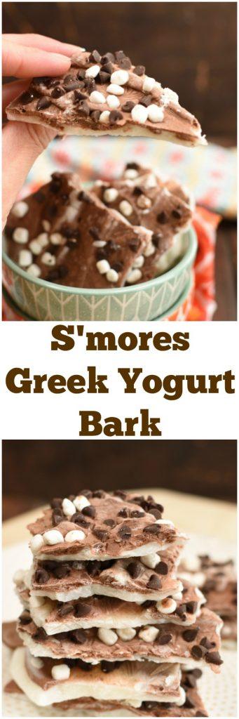 S'mores Greek Yogurt Bark makes a healhty summer snack, dessert or breakfast! #easyrecipe www.littledairyontheprairie.com