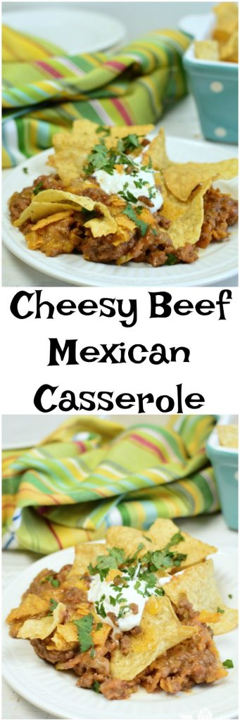 Cheesy Beef Mexican Casserole is made with ground beef, tortilla chips (Doritos), and a few other pantry ingerdients. It's a simple and quick weeknight meal.
