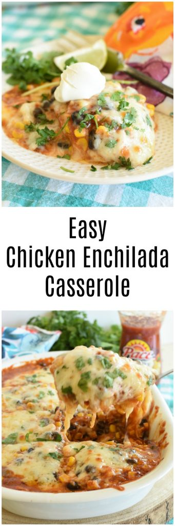 Easy Chicken Enchilada Casserole is a quick and easy weeknight meal. #ad #CampbellsShortcutMeals