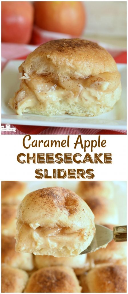 Caramel Apple Cheesecake Sliders are the most fun, and easiest, way to make a fall dessert! And yes, it's okay to eat them for breakfast too! #ad #Rhodes
