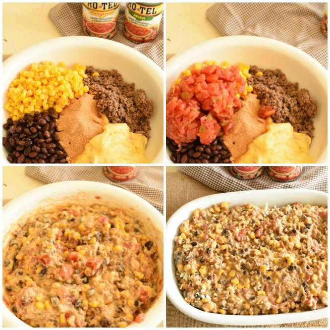 images showing how to make hot dip with corn, beans, ground beef