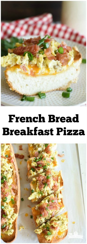 French Bread Breakfast Pizza is quick and easy recipe that only uses a few ingedients (French bread, grated cheese, Farmland sausage and bacon, and eggs)! #ad #Farmland