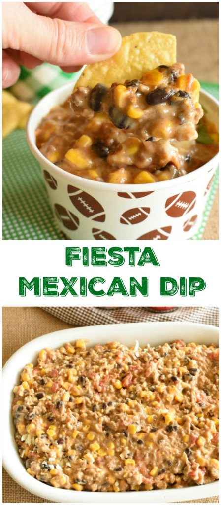 Mexican Fiesta Dip can either be made in the slow cooker or baked in the oven! This appetizer is always gone in a hurry! Grab ROTEL @ Walmart to make this dip! #ad #DipForTheWin