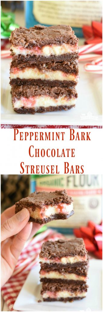 #AD Peppermint Bark Chocolate Streusel Bars have a luscious mint cheesecake layer nestled between melt in your mouth chocolate layers on the top on bottom! #Bob's Red Mill