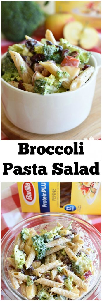 Broccoli Pasta Salad is loaded with crunchy broccoli, sweet apples, savory bacon, and pasta! It's a great fall salad! #ad #BarillaProteinPLUS @Smith's