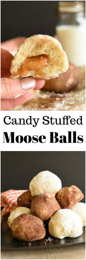 Candy Stuffed Moose Balls (aka Candy Bar Bombs) because you can't beat stuffing a warm Rhodes Rolls with a candy, then covering it in sugar! #ad #RhodesFrozenDough