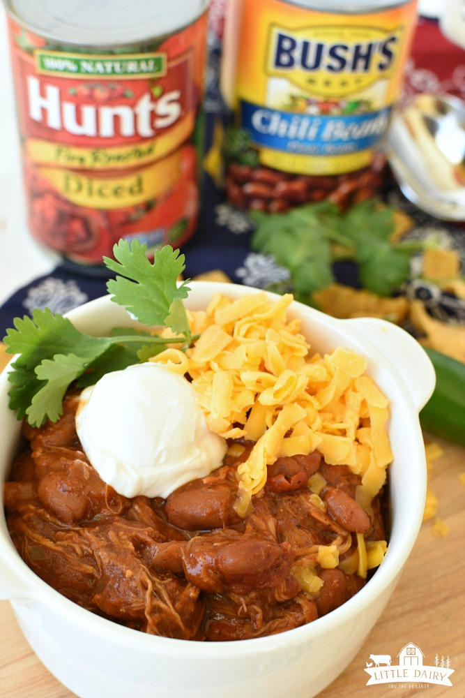 Cowboy Pulled Pork Chili - all chili begins with great beans and diced tomatoes