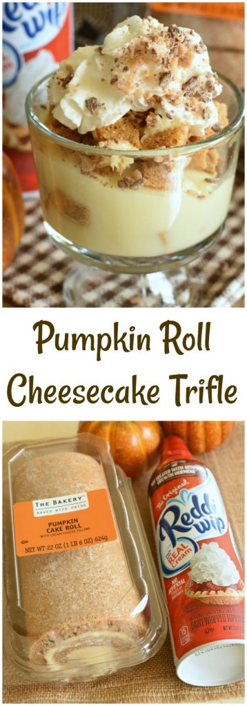 Pumpkin Roll Cheesecake Trifle is the most impressive, yet easiest ever, fall desserts! Grab ingredients @ Walmart to make it super easy! #ad #reddiforfall