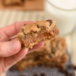 Caramel Filled Chocolate Chip Cookie Bars {Two Ingredient}