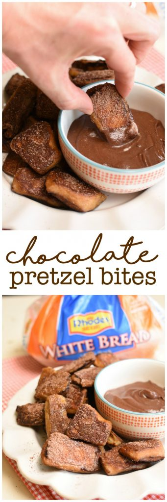 Chocolate Pretzel Bites are the pretzel bites for chocolate lovers! They are semi-homemade! #AD #Rhodes #FrozenDough