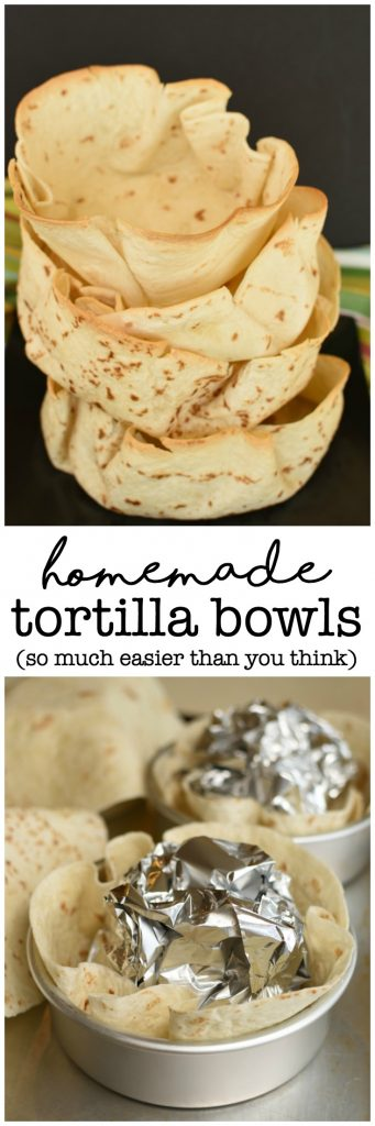 Homemade Tortilla Bowls are so easy and so fun, and way less expensive than buying them! #diy #tacotuesday