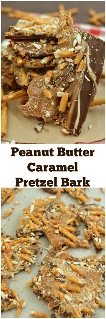 Peanut Butter Caramel Pretzel Bark Candy No Bake Dessert Christmas Few Ingredients Microwave