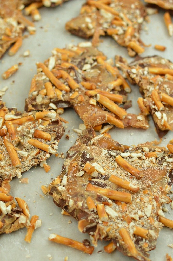 Peanut Butter Caramel Pretzel Bark - break it into pieces