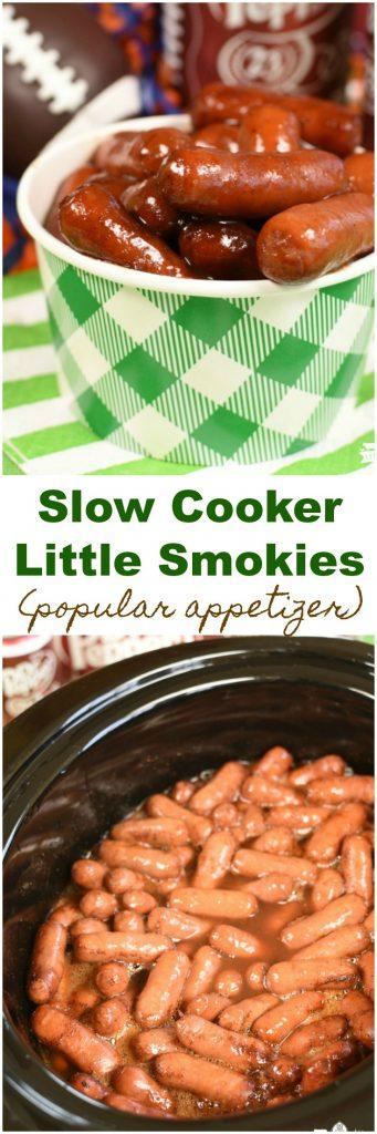 Slow Cooker Little Smokies Appetizer Finger Food Tailgating Homegating #AD #HomeGateChamp