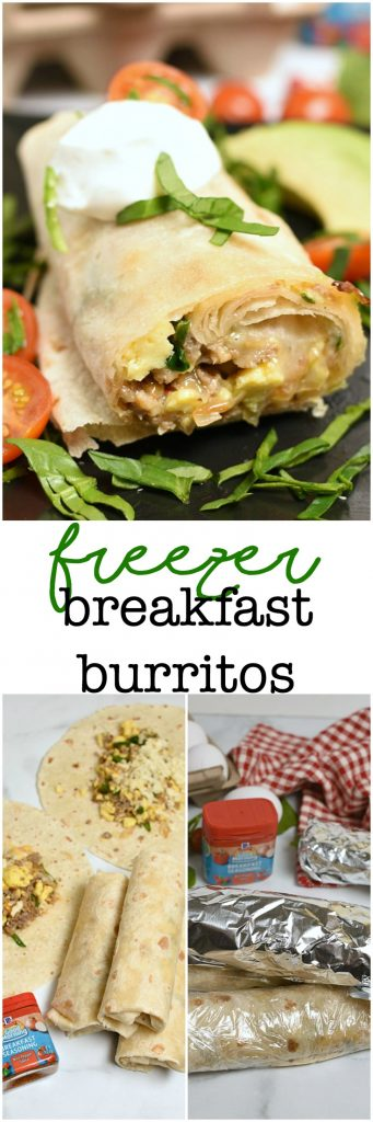 Freezer Breakfast Burritos are a hearty make ahead meal for busy mornings! Great for on the go! #ad #goodmorningbreakfast