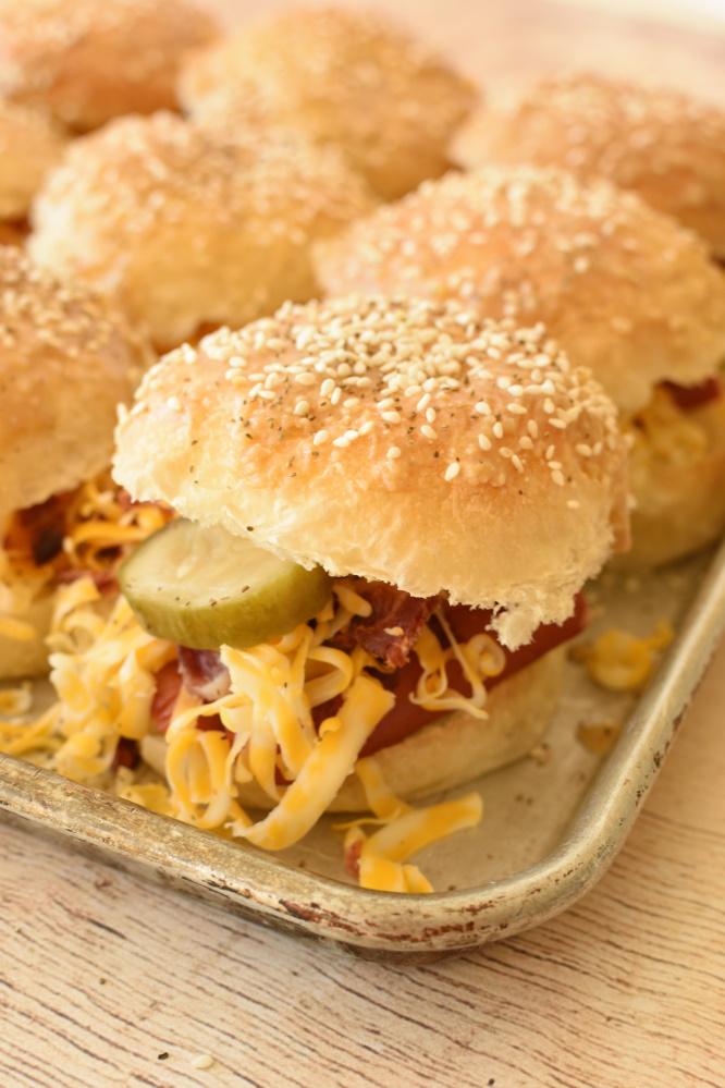Hotdog Sliders - buttery top