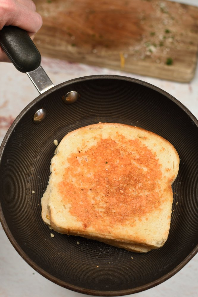 Parmesan Crusted Grilled Cheese Sandwich- perfectly golden brown crispy crust