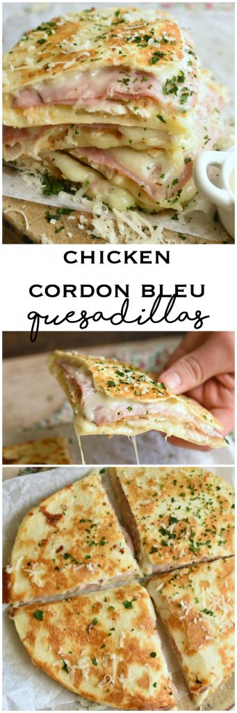 Chicken Cordon Bleu Quesadillas are a fuss free way to enjoy the classic in every single layer! #ad #DairyWest #UndeniablyDairy