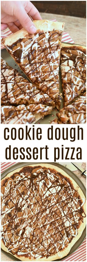 "Can you imagine anything more insanely delicious than Cookie Dough Dessert Pizza? There's so much to love about this fun new sweet twist on a favorite; cookies, hot fudge, and pizza crust! This pizza comes together in a flash and only uses 4 ingredients! Thanks to my friends at Rhodes for sponsoring today's post! #Rhodes #frozendough The other day in my Raspberry Cheesecake Dessert post I shared with you that I started homeschooling my youngest. Homeschooling is a huge adjustment for me. I'm now a shut-in. I think I'm more shut-in than I was when I had newborn babies. And now I have to squeeze my work in somewhere in between math and language arts. Let's not even talk about how difficult it is to work a shower into my schedule! When I pulled him out we told ourselves we were going to do homeschool right (whatever that means) and I was going to teach him more than he would have ever learned being at school. I guess you could say I'm a little hard core! We are about 6 weeks into our homeschool routine and I guess you could still say I'm a slave driver but Payson and I can both admit we are cruising through the material and he's learning by leaps and bounds. That was until today! I felt like a disgusting greasy mess and I couldn't wait one more minute to shower. So I taught him how to read and write Roman Numerals (yes I know he won't ever really use it again, but it was the next lesson in the book and I think it's important that he at least is familiar with them) and let him practice while I took a much needed lightning fast shower! Then I turned him loose on his review of fragmented, run on, and compound sentences, and past perfect tense verbs and I turned myself loose on Cookie Dough Dessert Pizza! YOU GUYS! This stuff is the best thing that happened today...okay, I know Roman Numerals aren't much competition! But still, it's so stinking good! And it turns out that it's a great motivator too! Because I wouldn't let Payson have even one little lick of a spoon, or bite until he finished his work! That kid is incredibly smart and quick when he has Cookie Dough Dessert Pizza dangling over his head! So, his school work is finished! Mine work is not! And when that happens what does any responsible mother and teacher do? Pawn their jobs off on the kid/student! Ha! He's vacuuming, doing dishes, and starting laundry! Hey, more kids should know how to do those jobs anyway right! Really quickly let me tell you about Cookie Dough Dessert Pizza! Like I said, it only has 4 ingredients Rhodes frozen dough hot fudge sauce (Check out my recipe for my favorite Homemade Hot Fudge Sauce) Store bought cookie dough (Go ahead and make your own if you don't have math to correct and payroll due to your employees) A can of vanilla frosting (And if you still don't have anything to do you can make this from scratch too!) Here's a rundown on how to put it together. Thaw Rhodes frozen dough according to package directions. I used one loaf and let it sit out overnight. Before spreading the dough out I always let it rest for a few minutes and it seems to make it so much easier to work with. Move rack to the center position in the oven. Preheat oven to 400 degrees. Form pizza crust with dough. My pizza pan is a 15"" pan and one loaf is perfect for that size pan. Warm up 1/2 -¾ cups hot fudge sauce. I stick it in the microwave for a few seconds. You just need it warm enough to spread easily. Crumble cookie dough over hot fudge sauce. I use my trusty fingers. Bake for 12-15 minutes. Let pizza cool for about 5 minutes. Warm up additional hot fudge sauce and vanilla icing and drizzle over pizza. Slice into pieces and dig in! Using store bought ingredients makes Cookie Dough Dessert Pizza incredibly quick and easy to make. I can't even tell you how many times using Rhodes frozen dough has saved my life! After Payson finished his work and rewarded him with his Cookie Dough Dessert Pizza, as promised, he just couldn't stop talking about how soft, and tender the crust was, how incredible even store bought cookie dough tastes on pizza, and how he could drink hot fudge sauce from the jar! Needless to say, I might be making Cookie Dough Dessert Pizza everyday for the rest of the school year in an attempt to get the kid to finish his homework a little faster! I might gain weight, but we all might be happier in the end!"