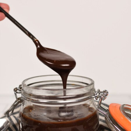 a spoonful of hot fudge ice cream topping