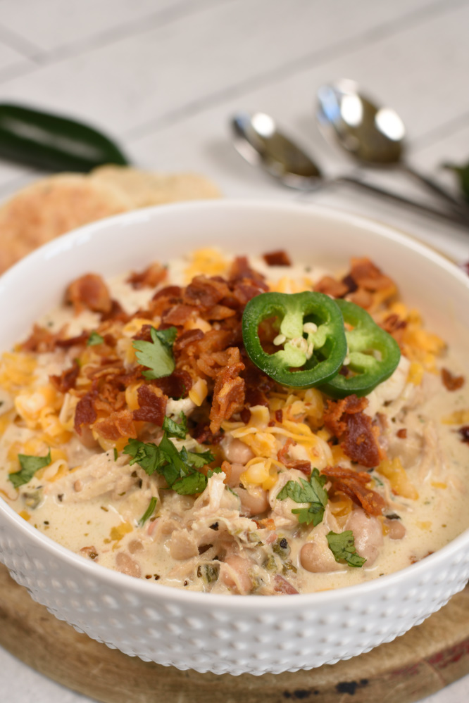 Jalepeno Popper Chicken Chili - soup