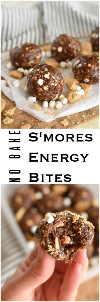 No Bake S'mores Energy Bites- healhy, made with honey and cocoa. Make ahead snack or dessert. No bake.