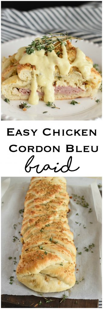 Chicken Cordon Bleu Braid Easy Recipe Dijon Mustart Sauce Quick Dinner Ham, Chicken, and Swiss #AD #Rhodes #FrozenDough