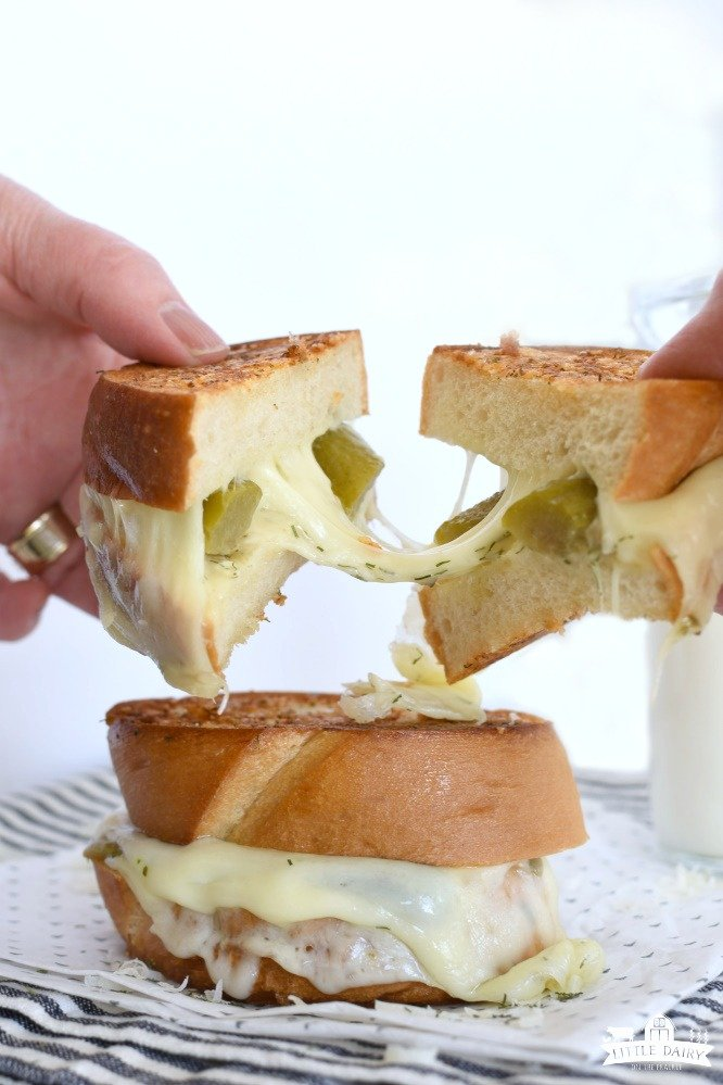 Grilled Cheese sandwich with pickles and white cheese.