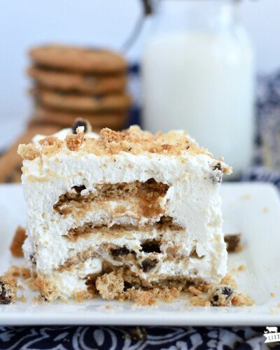 icebox cake on a square plate